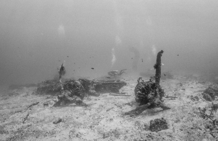 The smashed RAAF Catalina flying boat lies in 20 metres of usually clear water.